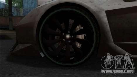 GTA 5 Pegassi Zentorno SA Style para GTA San Andreas vista posterior izquierda