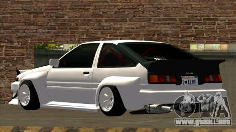 Toyota AE86 para visión interna GTA San Andreas