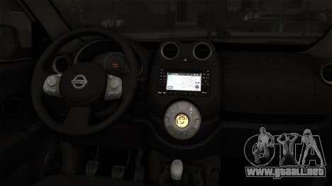 Nissan Micra Taxi DF 2012 para GTA San Andreas vista posterior izquierda
