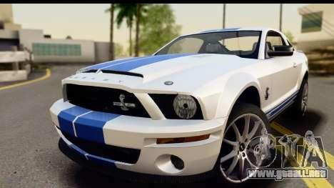 Ford Mustang Shelby GT500KR para GTA San Andreas vista posterior izquierda