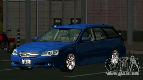 Subaru Legacy Touring Wagon 2003 para GTA San Andreas vista posterior izquierda
