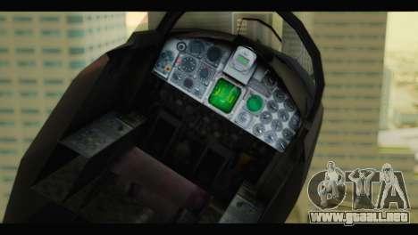 Northrop F-5E Top Gun para GTA San Andreas vista hacia atrás