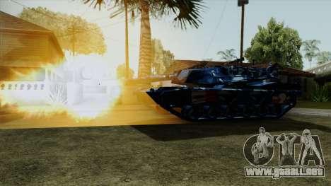 Azul camuflaje militar para el tanque para GTA San Andreas vista posterior izquierda