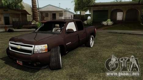 Chevrolet Silverado para GTA San Andreas vista posterior izquierda