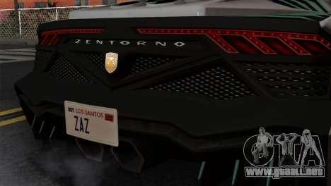 GTA 5 Pegassi Zentorno SA Style para GTA San Andreas vista hacia atrás