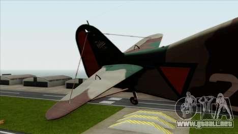 Fokker D.XXI para GTA San Andreas vista posterior izquierda