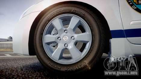 Nissan Altima Hybrid NYPD para GTA 4 vista hacia atrás