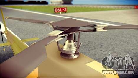 Esquilo 350 Fuerza Aerea Paraguaya para GTA San Andreas vista hacia atrás