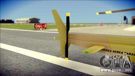 Esquilo 350 Fuerza Aerea Paraguaya para GTA San Andreas vista posterior izquierda