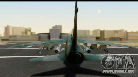 Ling-Temco-Vought A-7 Corsair 2 Belkan Air Force para GTA San Andreas vista hacia atrás