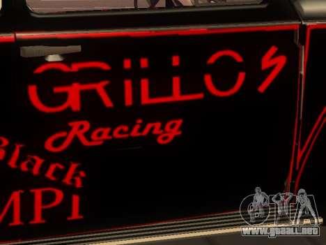 Volkswagen Super Beetle Grillos Racing v1 para visión interna GTA San Andreas