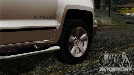 Chevrolet Silverado 2014 LTZ para GTA San Andreas vista posterior izquierda