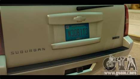 Chevrolet Suburban 2010 NFS para GTA San Andreas vista hacia atrás