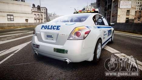 Nissan Altima Hybrid NYPD para GTA 4 Vista posterior izquierda
