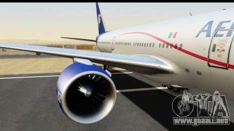 Boeing 777-200ER AeroMexico para GTA San Andreas vista hacia atrás
