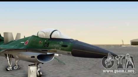 F-2A Zero Dark Green para GTA San Andreas vista posterior izquierda