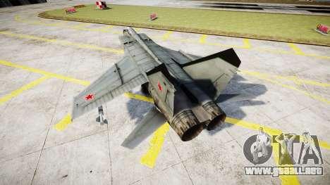 El MiG-25 para GTA 4 Vista posterior izquierda