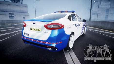 Ford Fusion 2014 Belgian Police [ELS] para GTA 4 Vista posterior izquierda