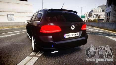 Volkswagen Passat B7 Police 2015 [ELS] unmarked para GTA 4 Vista posterior izquierda