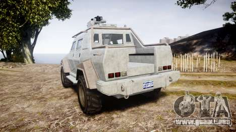 GTA V HVY Insurgent Pick-Up para GTA 4 Vista posterior izquierda