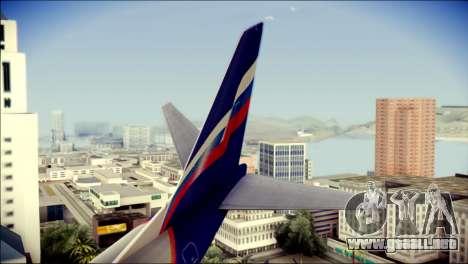 Boeing 737-800 Aeroflot para GTA San Andreas vista posterior izquierda