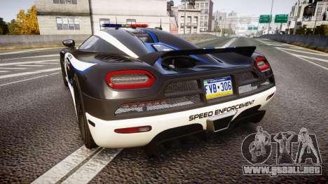 Koenigsegg Agera 2013 Police [EPM] v1.1 PJ3 para GTA 4 Vista posterior izquierda