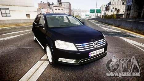 Volkswagen Passat B7 Police 2015 [ELS] unmarked para GTA 4