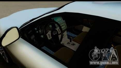 Infiniti FX 45 2007 para GTA San Andreas vista hacia atrás