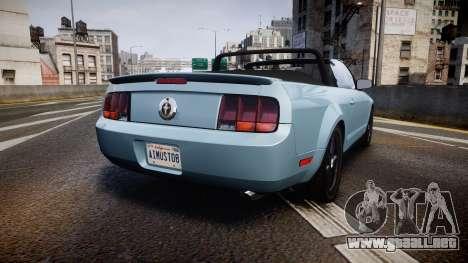 Ford Mustang Convertible Mk.V 2008 para GTA 4 Vista posterior izquierda