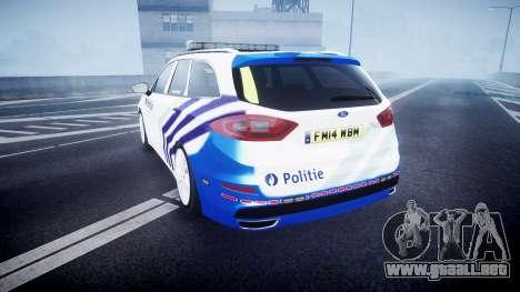 Ford Fusion Estate 2014 Belgian Police [ELS] para GTA 4 Vista posterior izquierda