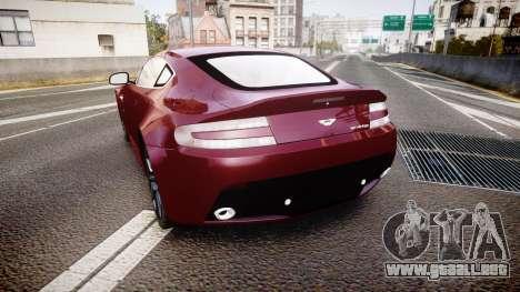 Aston Martin V12 Vantage 2010 para GTA 4 Vista posterior izquierda
