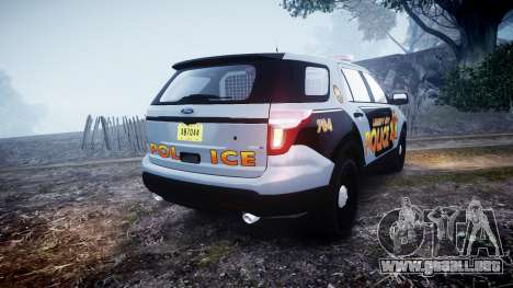 Ford Explorer Police Interceptor [ELS] marked para GTA 4 Vista posterior izquierda