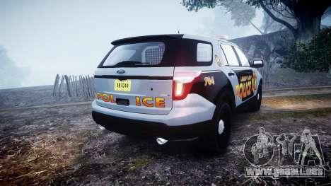 Ford Explorer Police Interceptor [ELS] marked para GTA 4 Vista posterior izquierda