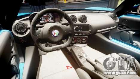 Alfa Romeo 4C 2014 para GTA 4 vista hacia atrás