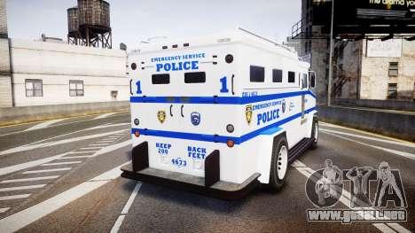 GTA V Brute Police Riot [ELS] skin 4 para GTA 4 Vista posterior izquierda