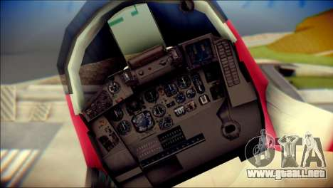 MIG-29 Shrine Maiden Hiragi para GTA San Andreas vista hacia atrás
