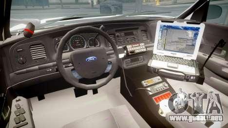 Ford Crown Victoria LCPD Unmarked [ELS] para GTA 4 vista hacia atrás