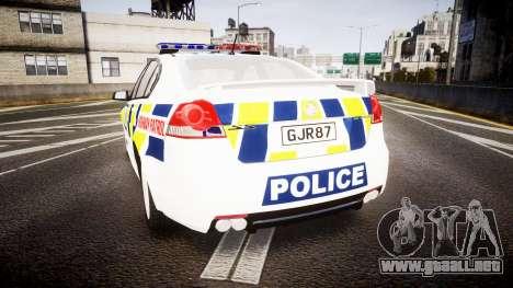 Holden VE Commodore SS Police HWP [ELS] para GTA 4 Vista posterior izquierda