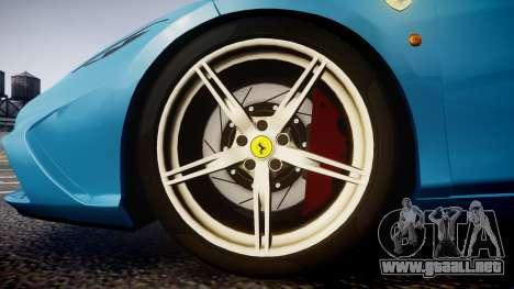 Ferrari 458 Speciale 2014 para GTA 4 vista hacia atrás