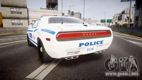 Dodge Challenger LCPD [ELS] para GTA 4 Vista posterior izquierda