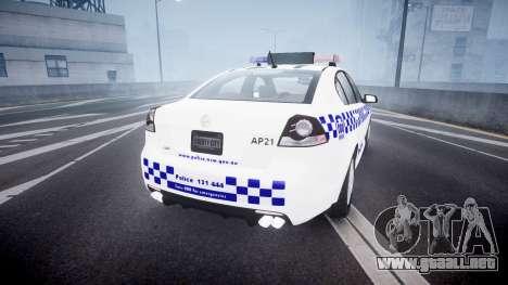 Holden Commodore Omega NSWPF [ELS] para GTA 4 Vista posterior izquierda