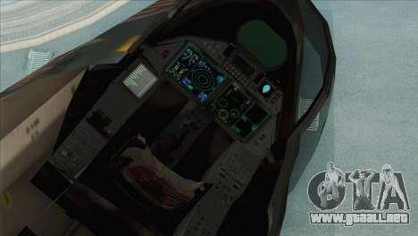 Sukhoi SU-35BM Mobius Squadron para GTA San Andreas vista hacia atrás