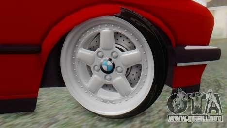 BMW M3 E30 B. O. de la Construcción para GTA San Andreas vista posterior izquierda
