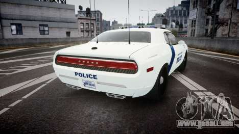 Dodge Challenger Homeland Security [ELS] para GTA 4 Vista posterior izquierda