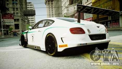Bentley Continental GT3 2014 para GTA 4 left