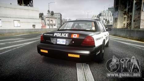 Ford Crown Victoria Alderney Police para GTA 4 Vista posterior izquierda
