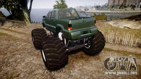 Albany Cavalcade FXT Monster Truck para GTA 4 Vista posterior izquierda