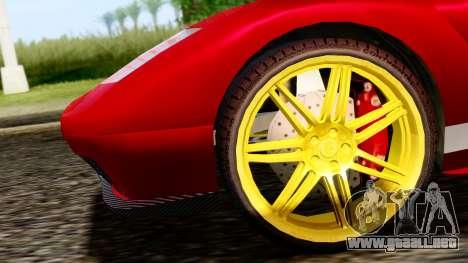 Pegassi Infernus Cento Miglia para GTA San Andreas vista posterior izquierda