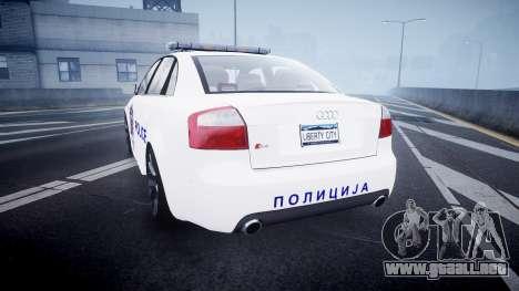 Audi S4 Serbian Police [ELS] para GTA 4 Vista posterior izquierda