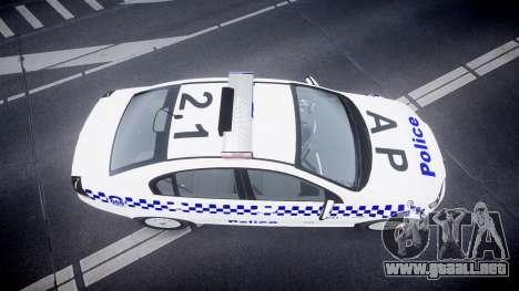 Holden Commodore Omega NSWPF [ELS] para GTA 4 visión correcta
